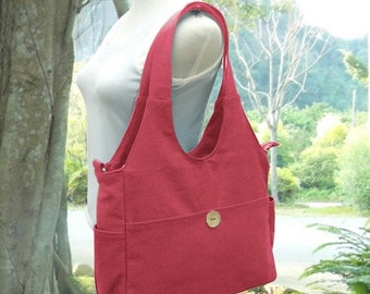 Holiday On Sale 10% off Red canvas shoulder bag, tote bag for women, fabric diaper bag, women's messenger bag