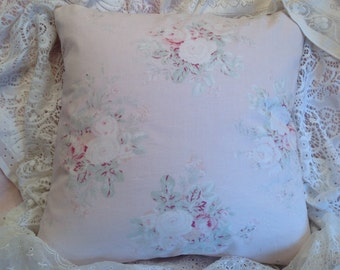 Shabby Chic Pillow cover with roses Retired Rachel Ashwell rose print cotton fabric Sweet