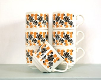 Set of Seven Vintage Cups in Mustard & Brown Retro Floral Pattern by Carrigaline Pottery of Ireland