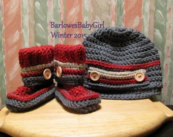 Buggs - Crochet Newsboy Hat and Booties w/ Detachable Band in Burgundy, Charcoal Grey, and Taupe