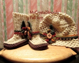 NEW - Buggs - Crochet Baby Boots and Bucket Hat w/ Detachable Flower Accents in Autumn Hues