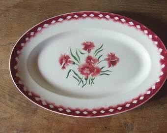 Vintage French Oval Plate Sarreguemines Burgundy Pinks