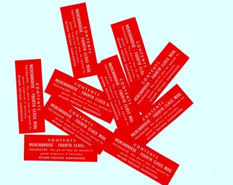 10 Vintage Fouth Class Mail Red Labels - Mixed Media, Collage, Scrapbooking, Assemblage, Altered Art Supplies