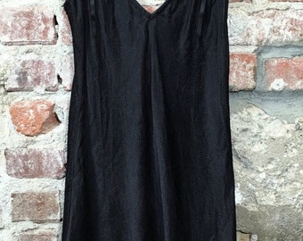 Vintage 60s 70s Women's Lingerie Distressed Stone Washed Silk Slip Black with Black Bows Size Small