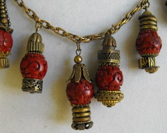 Antique authentic carved Cinnabar and antique brass necklace  Chinese charm necklace