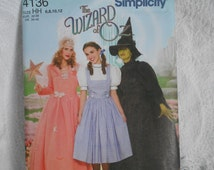 Adult Wizard of Oz Pattern - Dorothy, Glenda, Wicked Witch Pattern Sizes 6/8/10/12 Simplicity 4136 - 2006 - UNCUT - Ready to Ship