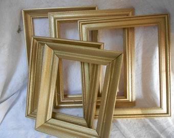 Set of 5 Gold Frames - Gold Sparkle Frames - Vintage Set of Frames - Open Backed Frames - Ready to Ship