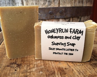 Oakmoss and Clay Shaving Soap - made with bentonite clay, honey, and beeswax