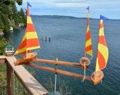 Go Stripes Four Boat Whirligig