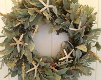 Perfect  Beach Wreath - Beachy Wreath by Annie Gray-Coastal Cottage Door Wreath-Starfish Wreath-Beach Wedding Wreath-Beach Decoration-Shells