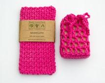 Hot Pink Gift for Women - Washcloth Soap Saver, soap cozy, crochet wash cloth set, bath set, Valentine's Day Gift, Birthday,