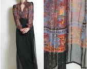 70s Silk Blouse Sheer Rich Hippie Delicate Opulent Silk Print Blouse Vintage 70s Sheer Top