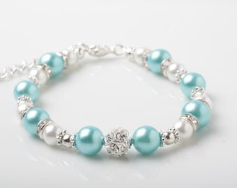 Turquoise Bridesmaid Bracelet, turquoise Wedding Bracelet, Turquoise pearl Bracelet, Bridesmaid Gift, Maid of honor gift, Beach wedding