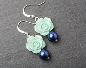 Mint and Navy Bridesmaid earrings, Mint rose earrings, mint and navy wedding jewelry, mint and navy bridesmaid gift, garden wedding earrings