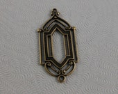 LuxeOrnaments Oxidized Brass Filigree Window Pendant (2 pcs) 28x13mm G-07005-B
