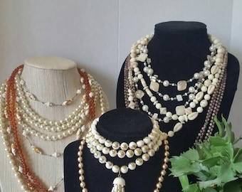 Cream color beaded Necklace Lot