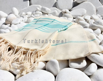 Turkishtowel-Soft-Hand woven,warp&weft cotton Bath,Beach Towel-Point twill pattern,Teal-green turquoise stripes on the natural cream