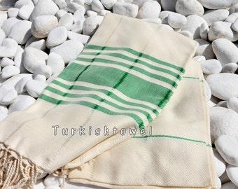 Turkishtowel-Soft-Hand woven,warp&weft cotton Bath,Beach Towel-Point twill pattern,Grass green stripes on the natural cream