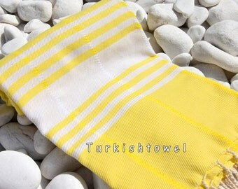 Turkishtowel-Soft-Hand woven,warp&weft cotton Bath,Beach Towel-Point twill pattern,Natural cream stripes on the Neon Yellow