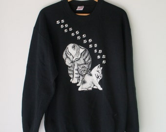 Vintage CAT SWEATER ...size large one size free size womens.....kitsch. retro. cat. kitten. meow. animal lover. black. hep cat. 1980s