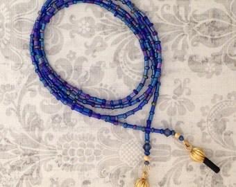 Carnival Glass, Iridescent Cobalt Blue Rainbow Glasses Leash GL162