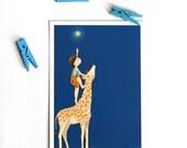 Cute Postcard - Children's Wall Art Print - Kids Decor - Wall Art Illustration - Nursery Giraffe Print  - The star -  4.1 x 5.8 in