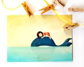 GIRL and WHALE POSTCARD - Children's Wall Art Print - Kids Decor - Wall Art Illustration - whale, toddler - Girl's nursery - 4.1 x 5.8 in