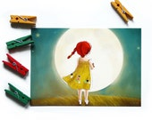 THE MOON Postcard (v. 2) - Children's Wall Art Print - Kids Decor - Wall Art Illustration - Girl's nursery - girl and moon  - 4.1 x 5.8 in