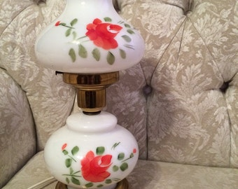Vintage Hurricane Milk Glass Top And Bace Lamp Plugs In But Looks Like A Real Oil Lamp. Hurricane Lamp Painted Milk Glass Lamp With Shades P