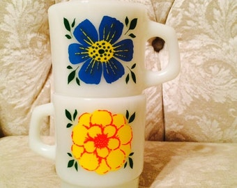 Rare Anchor Hocking Oven Proof Milk Glass Yellow And Red One Side Blue And Yellow Milk Glass Mugs. Elegant Harder To Find Milk Glass Mugs