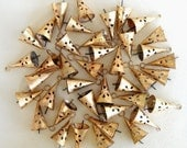 50 Golden Colored Hand Made Conical Bells with design cut for Wind Chimes, Altered Art -with Jute Rope - DIY - MV133