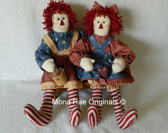 Raggedy Red And Raggedy Blue Soft Sculptured Dolls - Hand Made Original Design