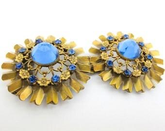 1930s Blue Gold Belt Closure Jewelry