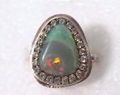 FALL SALE Gorgeous Solid australian Opal sterling silver ring ooak