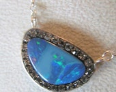 RESERVED FOR M  Opal Doublet black diamond crystal sterling silver necklace