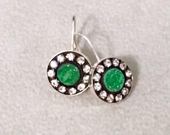 Russian uvarovite sterling silver earrings