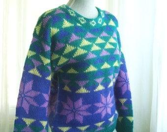 80's Colorful Oversize Angora Sweater, Size Small to Medium