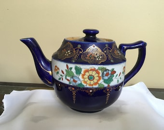 Vintage Asian teapot, made in Japan teapot, gift for teapot collector, blue teapot