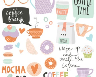 INSTANT DOWNLOAD - Coffee Break Cliparts