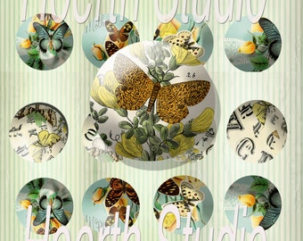 printable butterfly circles 2inch downloadable stickers or magnets collage sheet