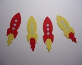 6 Small Rocket Embellishments Die Cuts for Scrapbooking Cards and Paper Crafts