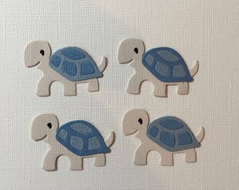 4 Blue Baby Turtle Die Cut Embellishments for Scrapbooking Cards and Paper Crafts Animal Zoo Pet Boy Free Post Australia