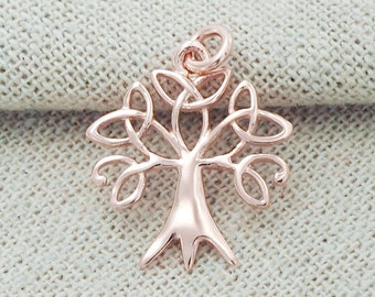 1 of 925 Sterling Silver Rose Gold Vermeil Style Tree of Life Charm 17x19 mm. :pg0003