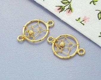 2 of 925 Sterling Silver 24k Gold Vermeil Style Dream Catcher Connectors,Links 10mm. :vm0537
