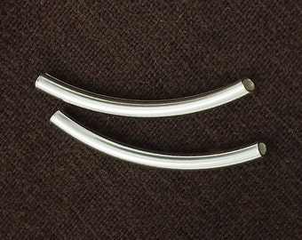 8 of 925 Sterling Silver Curve Tubular Beads 2.5x30 mm. :th1575