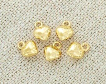 4 of 925 Sterling Silver 24k Gold  Vermeil Style Heart Charms 5 mm. :vm0045