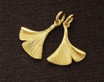 2 of 925 Sterling Silver 24k Gold Vermeil Style Ginkgo Charms 13x16 mm.   :vm0548