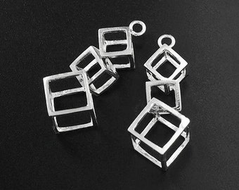 2 of 925 Sterling Silver Cube Charms 10x25 mm.  :th2347
