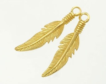 2 of 925 Sterling Silver 24k Gold Vermeil Style Feather Charms 5x23.5mm. :vm0552