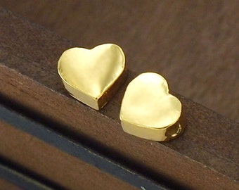 2 of Sterling Silver  24k Vermeil Style  Tiny Heart Beads 6x6.5mm. :vm0565